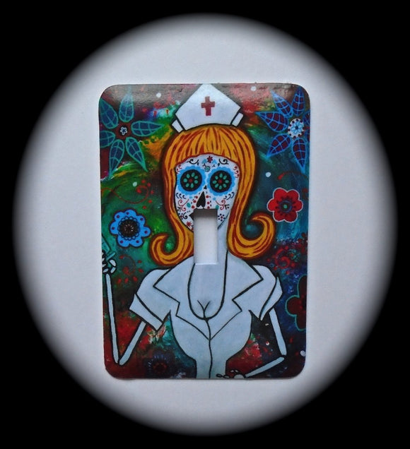 Metal Single Toggle Switch Plate Cover ~ Nurse Sugar Skull - Just Switch It 2