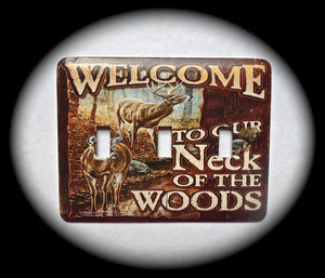 Metal Triple Toggle Switch Plate Cover ~ Outdoor Welcome Scene - Just Switch It 2