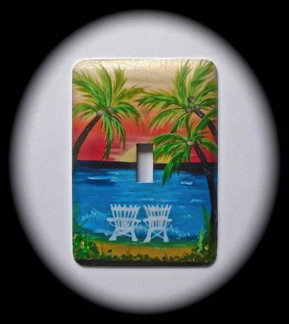 Metal Single Toggle Switch Plate Cover ~ Tropical Ocean Scene - Just Switch It 2