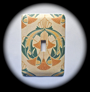 Metal Single Toggle Switch Plate Cover ~ Art Deco Print - Just Switch It 2