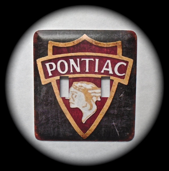 Metal Double Toggle Switch Plate Cover ~ Pontiac Logo - Just Switch It 2