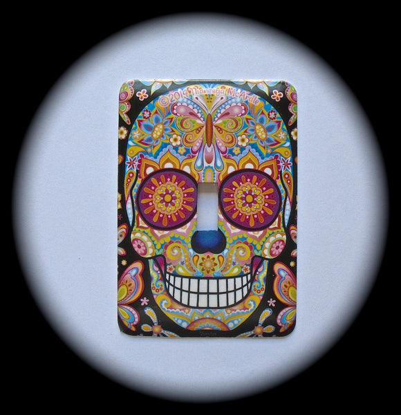 Metal Single Toggle Switch Plate Cover ~ Day of the Dead Sugar Skull - Just Switch It 2