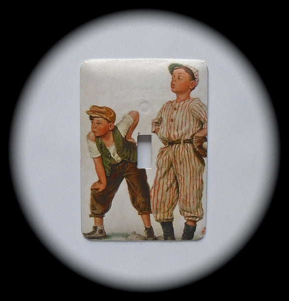 Metal Single Toggle Switch Plate Cover ~ Baseball Players - Just Switch It 2
