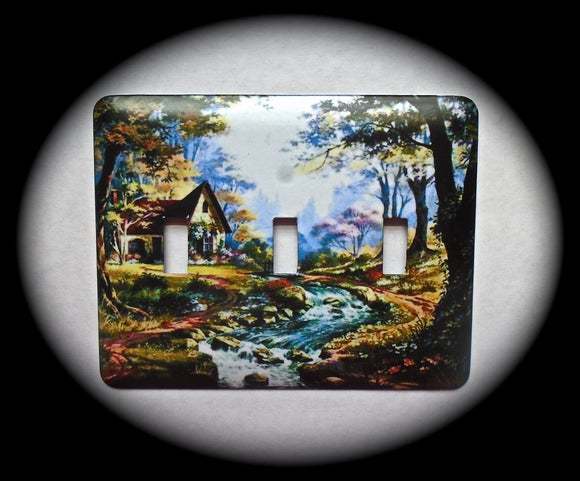 Metal Triple Toggle Switch Plate Cover ~ Outdoor Scene - Just Switch It 2