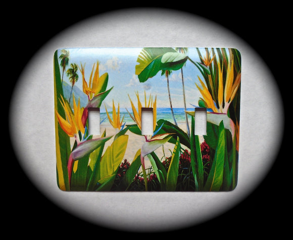 Metal Triple Toggle Switch Plate Cover ~ Tropical Ocean Scene - Just Switch It 2