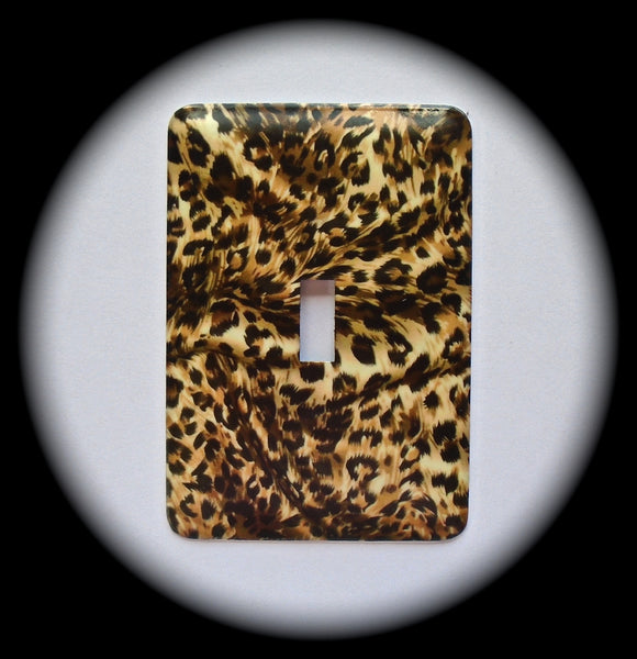 Metal Single Toggle Switch Plate Cover ~ Animal Print Leopard - Just Switch It 2