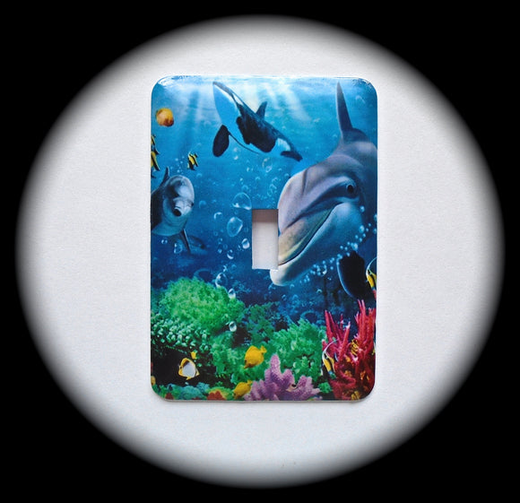 Metal Single Toggle Switch Plate Cover ~ Dolphin Whale Fish - Just Switch It 2