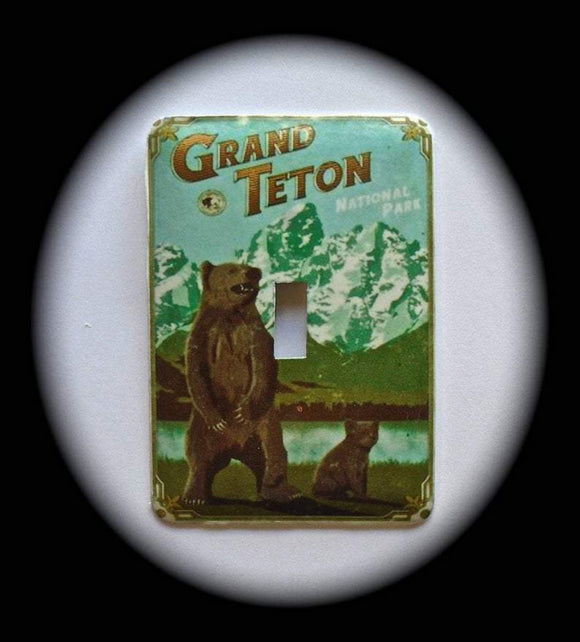 Metal Single Toggle Switch Plate Cover ~ Grand Teton National Park Bear - Just Switch It 2