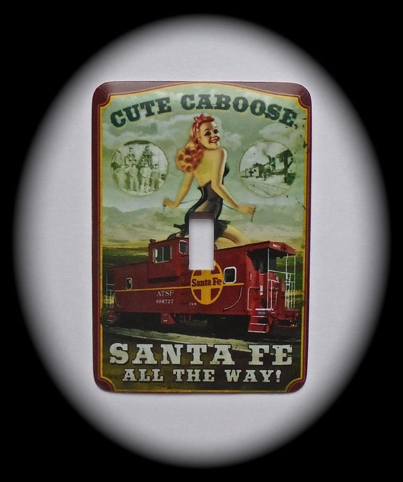 Metal Single Toggle Switch Plate Cover ~ Santa Fe Train Caboose - Just Switch It 2