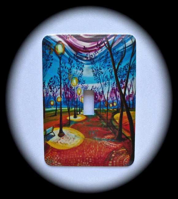 Metal Single Toggle Switch Plate Cover ~ Watercolor Scene - Just Switch It 2