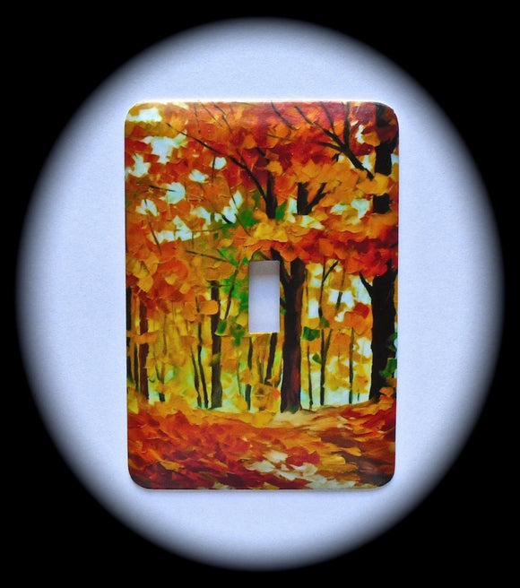 Metal Single Toggle Switch Plate Cover ~ Autumn Watercolor Scene - Just Switch It 2
