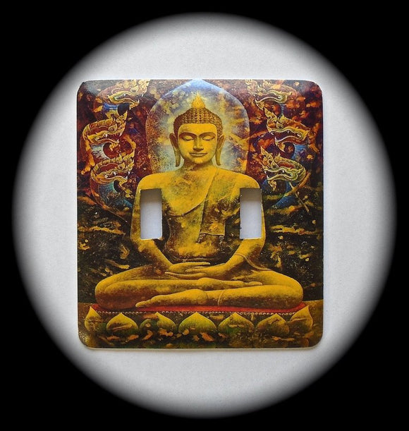 Metal Double Toggle Switch Plate Cover ~ Buddha - Just Switch It 2