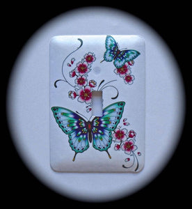 Metal Single Toggle Switch Plate Cover ~ Floral Butterflies - Just Switch It 2