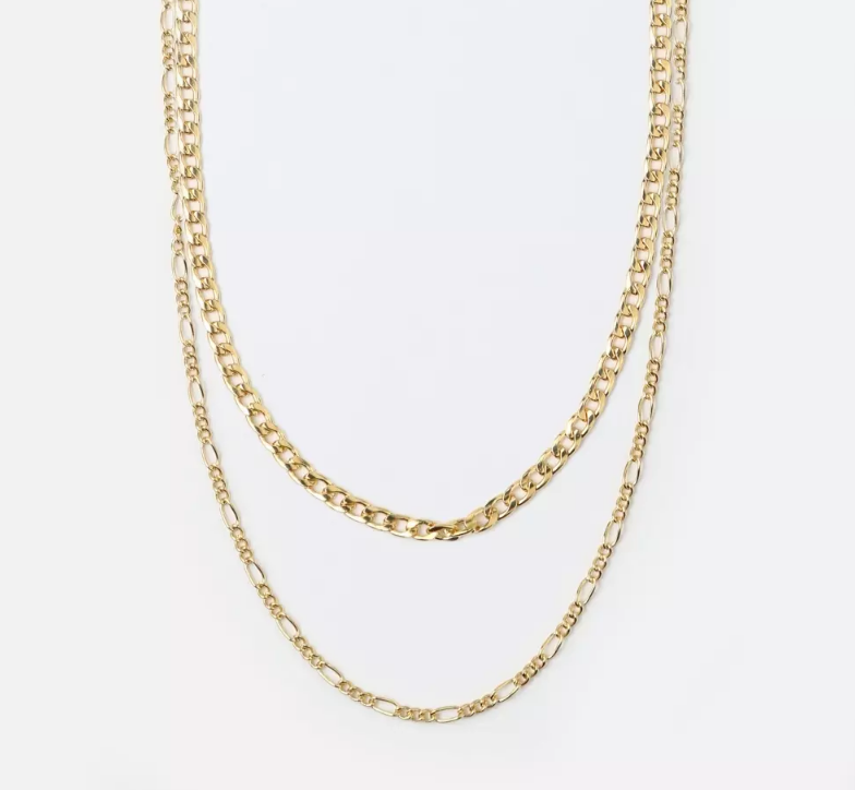GOLD CURB AND FIGARO CHAIN