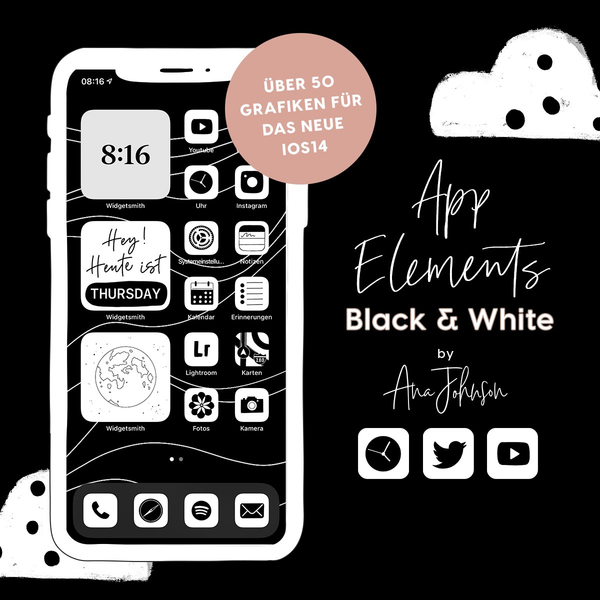 BLACK & WHITE App Elements by AnaJohnson