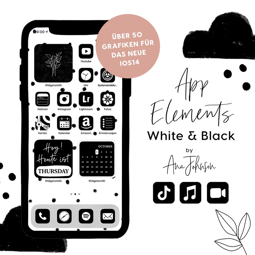 WHITE & BLACK App Elements by AnaJohnson