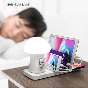 Phone Charger Mushroom Night Lamp