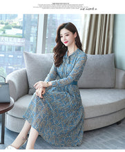 Load image into Gallery viewer, Bodycon Midi Dress Autumn Winter Vintage Chiffon Floral