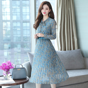 Bodycon Midi Dress Autumn Winter Vintage Chiffon Floral