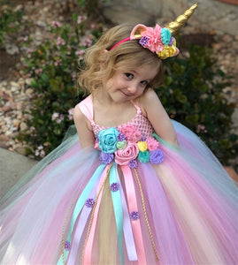Rainbow Unicorn Dresses Baby Girls Princess
