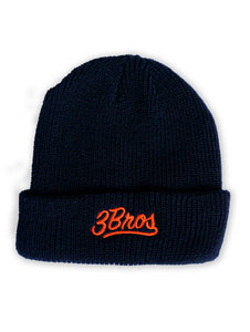 BLACK BEANIE / ORANGE LOGO