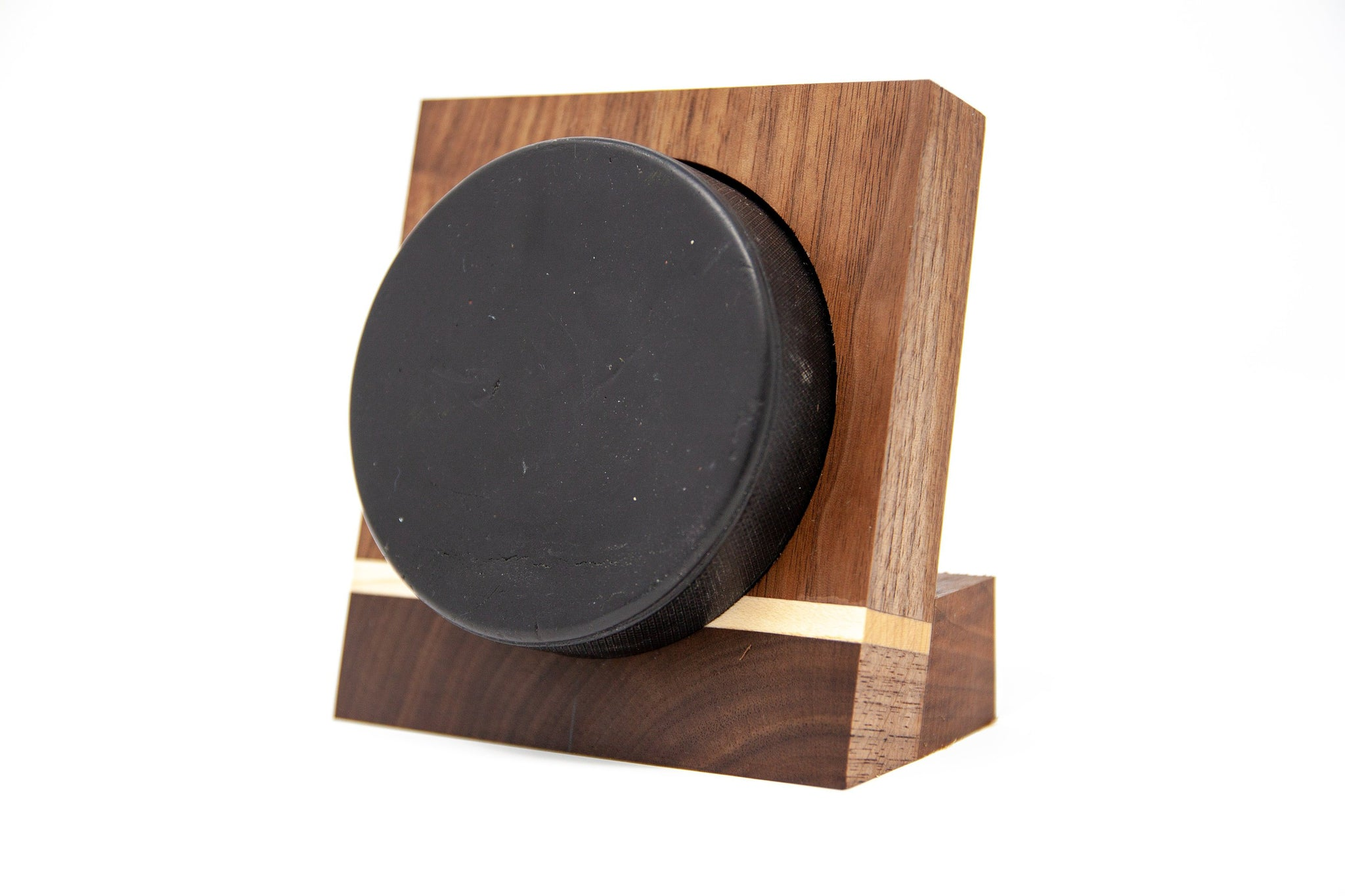 Hockey Puck Display Case - Walnut with Maple Accent