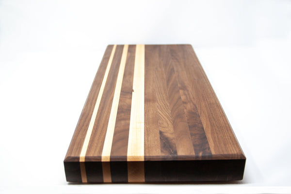 Side Grain Walnut Cutting Board w/Maple Accents