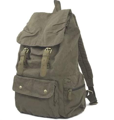 20-35L Outdoor Canvas Vintage Leather Strap Backpack