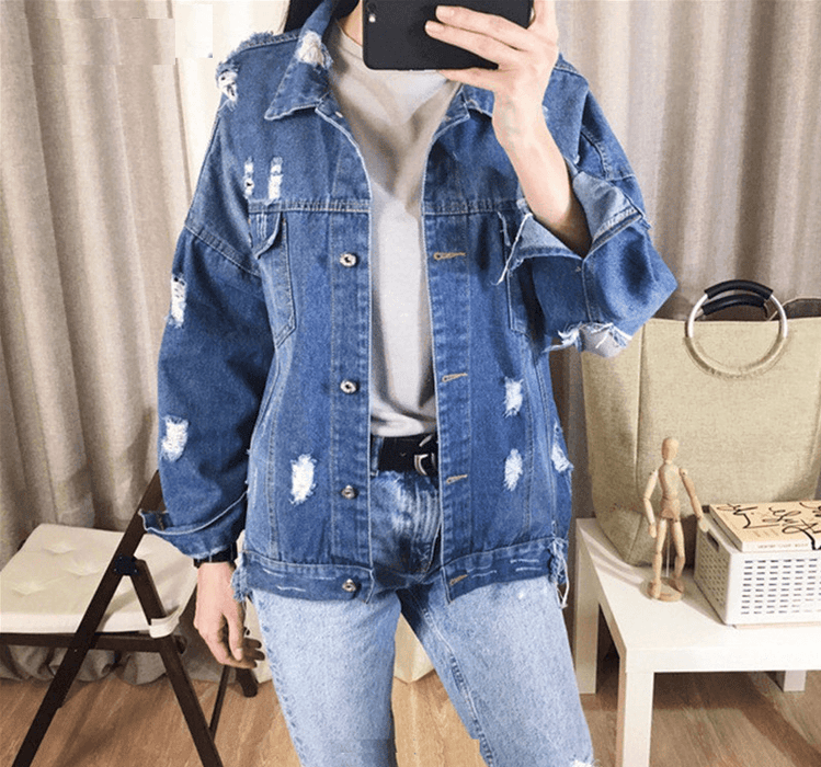 Womens Casual Jeans Jacket Patchwork Denim Ripped Hole S M L