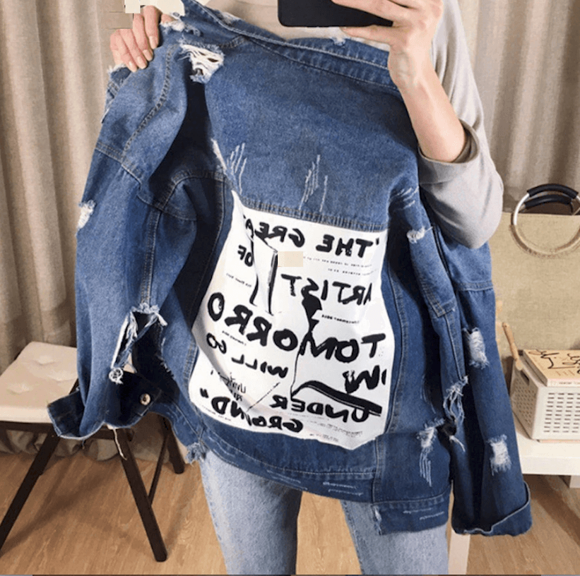 Casual Jean Jacket for Women Worn Patchwork Denim S M L