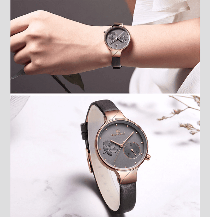 Watches For Women Naviforce Luxury Quartz Leather Band