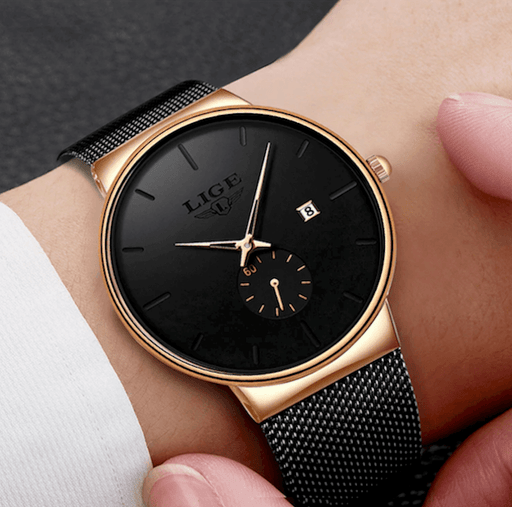 Men or Women Watches Luxury Ultra Thin Stainless Mesh Band