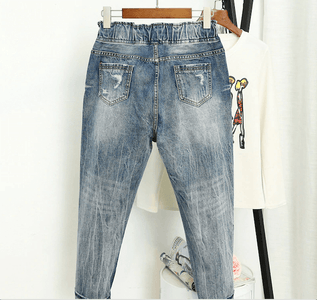 Jeans for Women Worn Loose Fit High Waist Plus Size