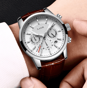 Mens Watches Luxury 316L Stainless Steel Waterproof Leather Band