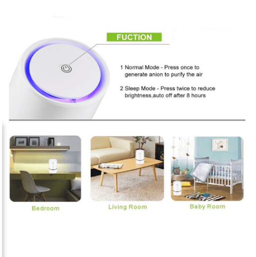 Portable HEPA Air Purifier USB Low Noise Home Auto RV