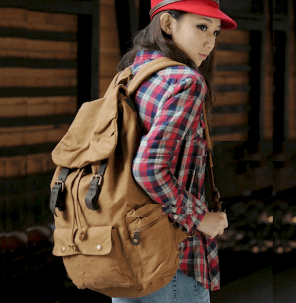20-35L Military Outdoor Canvas Leather Strap Backpack