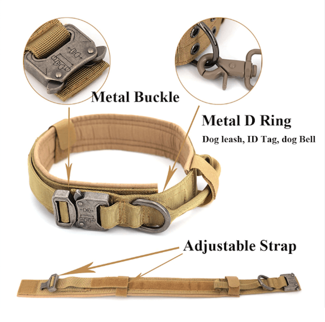 Adjustable Tactical Dog Collar Leash Training Handle
