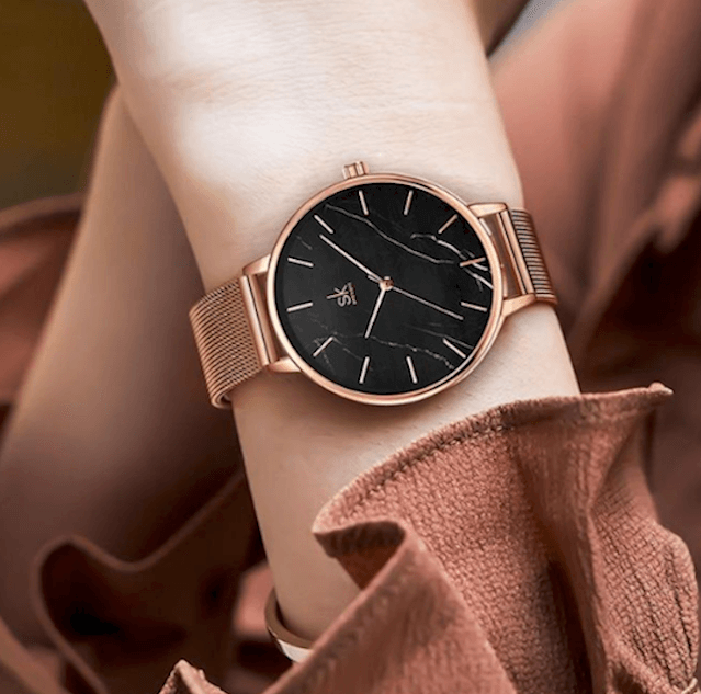 Watches for Women Stainless Steel Leather Quartz Marble Surface