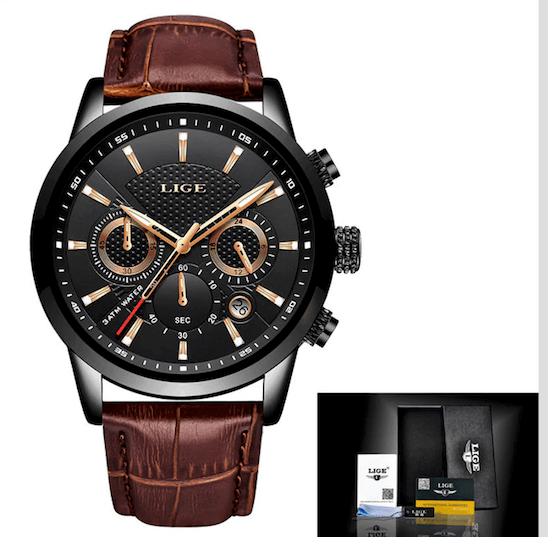 Watches For Men LIGE Leather Band Luxury Sport Quartz