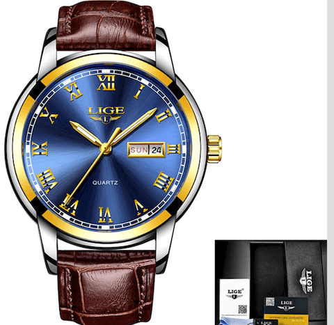 Image of Mens Watches Luxury Business Sport Quartz Waterproof Leather Band