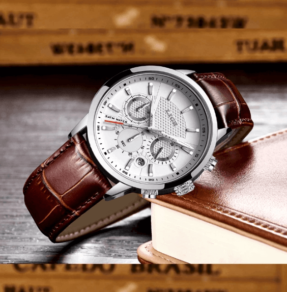 Mens Watches Luxury Brand Waterproof Quartz Steel or Leather Band...