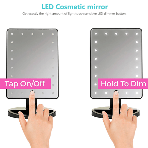 Image of Womens Makeup Vanity Mirror Touch Screen 24 LED Lights 180 Rotating