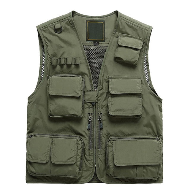 Outdoor Cargo Fishing Vests Multi-pockets Thin Plus Size