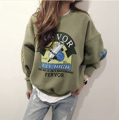 Sweatshirts for Women Cartoon Loose Fit Pullover M L XL Plus