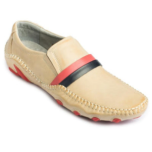 Hamlyn Grande Genuine Leather Made Beige Colored Casual And Party Shoe For Men