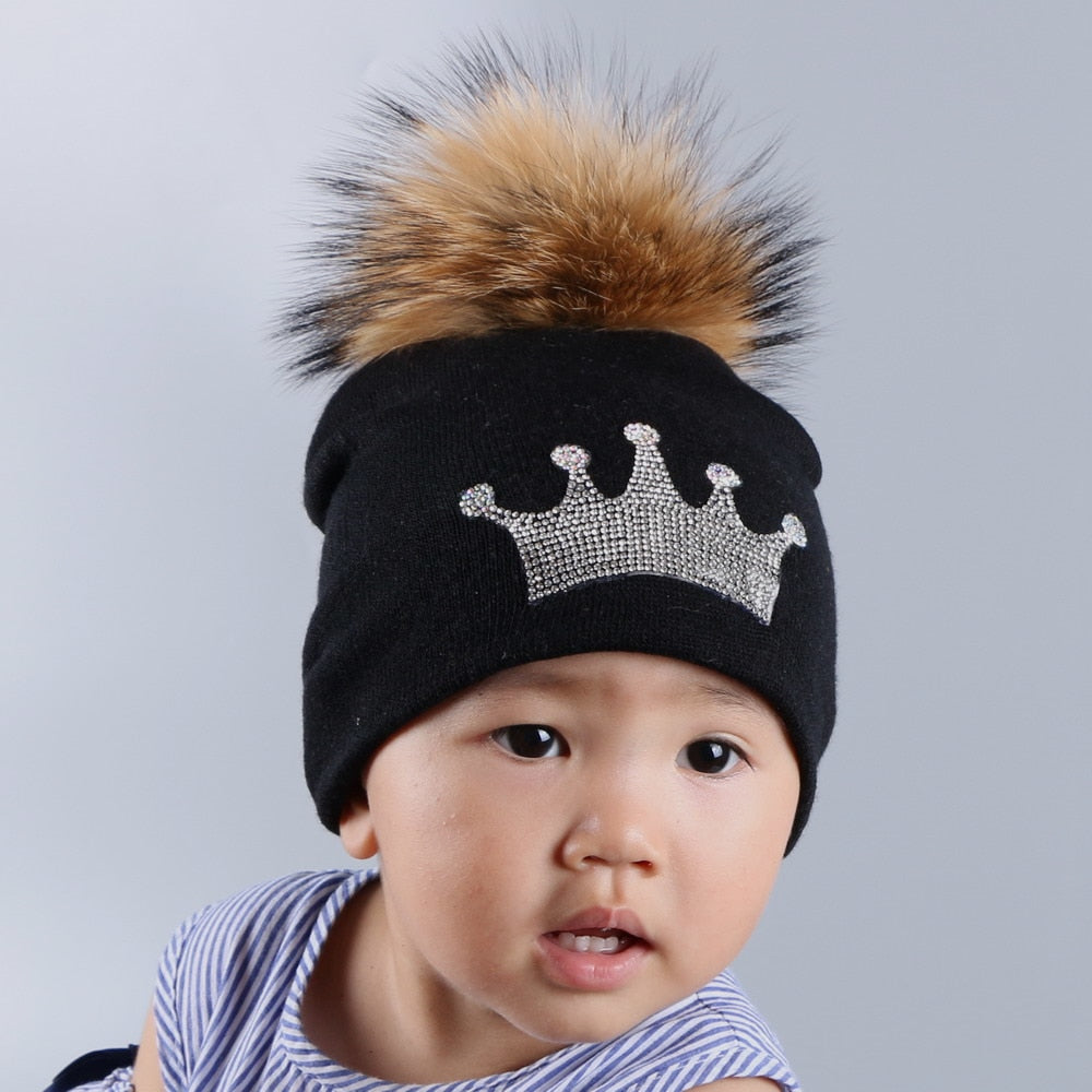 03a87fdbc0d 0 to 3 year old baby knitted winter hat cap girl boy kids cot fuchsia mink  fur pompom children crown beanies casual skullies
