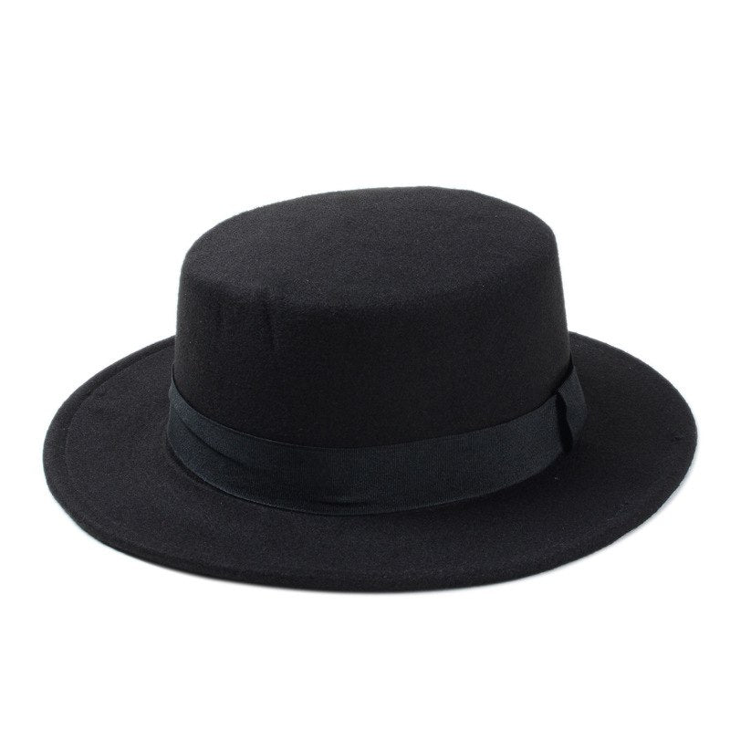 10 Color Men Women Felt Fedora Hat Flat Dome Oval Top Bowler Porkpie Sun Hat With Black Ribbon Band 25