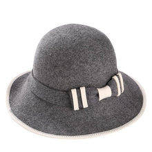 Load image into Gallery viewer, 100% Australian Wo Fedora Hat bowknot Noble Bowler Hats For Women Wide Brim Formal Church Cloche Hat fashion Bucket cap