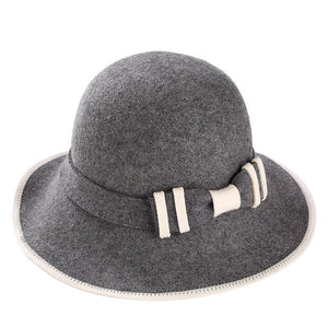 100% Australian Wo Fedora Hat bowknot Noble Bowler Hats For Women Wide Brim Formal Church Cloche Hat fashion Bucket cap