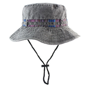 Phrase Unisex Cotton Packable Black Travel Bucket Hat Fishing Cap